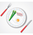 fried egg bacon and green asparagus browses vector image