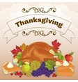 Turkey pumpkin cake fruits for Thanksgiving Day vector image