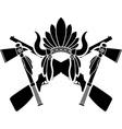 american indian headdress guns and tomahawks vector image