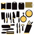 kitchen collection of knifes and cutting boards vector image