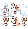 Set of Merry Christmas monkey vector image