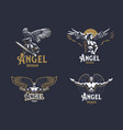 angel man set emblems vector image vector image