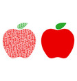 apple collage of binary digits vector image