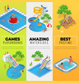 aquapark vertical web banners with different water vector image
