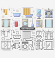bathroom furniture set in flat style vector image