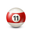 billiardred pool ball with number 11snooker vector image vector image