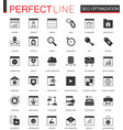 black classic seo and development icons set for vector image vector image