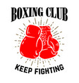 boxing club boxing gloves on white background vector image vector image