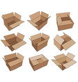 cardboard box for design brown delivery set vector image vector image