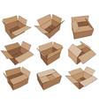 cardboard box for design brown delivery set vector image