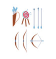 cartoon color different archery icon set vector image vector image