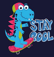 cartoon cute monster dinosaur freestyle skate vector image