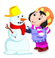 cartoon kids playing with snowman vector image vector image