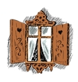 carved wooden decorative lace decoration window vector image