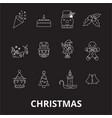 christmas editable line icons set on black vector image vector image