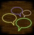 colorful speech bubbles on brick background vector image vector image