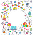 concept of education school background with hand vector image vector image