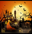 creepy tomb with castle and pumpkin vector image vector image