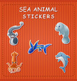 cute cartoon sea animals on sticker vector image