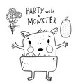 cute presenting monster for kids coloring pages vector image