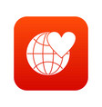 earth world globe with heart icon digital red vector image vector image