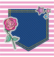 embroidery patch denim vector image