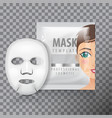 facial sheet mask with sachet mock up vector image vector image