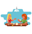 female friendship cafe meeting cute characters vector image