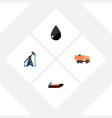 flat icon petrol set of rig van boat and other vector image vector image