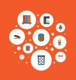 flat icons calculate bookshop espresso machine vector image vector image