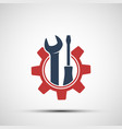 icon metal gear with industrial tools wrench vector image vector image