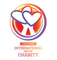 international day charity observed annually vector image vector image