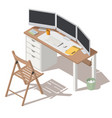 it specialist workplace with monitors vector image vector image