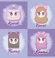 kawaii anime girl design vector image