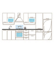 kitchen interior sketches hand drawing front view vector image