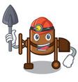 miner concrete mixer mascot cartoon vector image