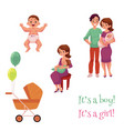 newborn baby set happy parents and carriage vector image vector image