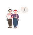 pair of smiling elderly male and female tourists vector image