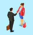 partnership handshake business man and woman vector image vector image