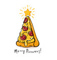 pizza christmas tree on white vector image