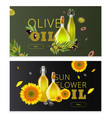 realistic oil product horizontal banner set vector image
