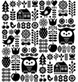 scandinavian seamless folk pattern - black finnish vector image vector image