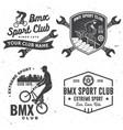 set bmx extreme sport club badge vector image