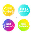 set of colorful summer circles signs badges vector image vector image