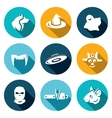 Set of Fear Icons Werewolf Witch Ghost