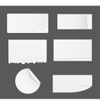 Set of White Paper Stickers Isolated on White vector image vector image