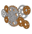 silver gears on white background vector image vector image