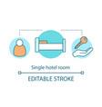 single hotel room concept icon vector image vector image
