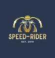 speed rider motorcycle club vintage logo design vector image