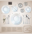table setting infographics vector image vector image